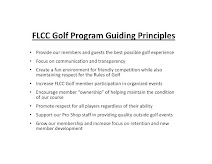 FLCC Golf Program Guiding Principles