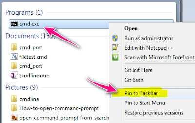 command prompt and pin to taskbar