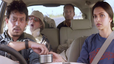 Irffan Khan as Rana, Amitabh Bachchan as Bhaskor, Deepika Padukone as Piku in Piku, going on a road trip from Delhi to Kolkata, in Piku, Shoojit Sircar
