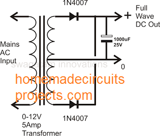 full wave power supply using center tap transformer, 2 diode circuit