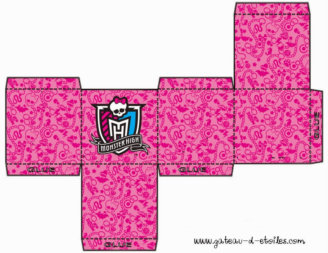 Cajas deMini Kit Monster High Rosa para imprimir gratis.