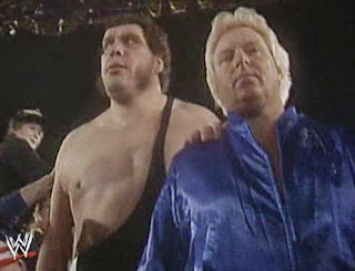 WWF / WWE: Wrestlemania 5 - Bobby Heenan leads Andre The Giant to ringside for a match against Jake 'The Snake' Roberts