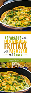 Asparagus and Fresh Mozzarella Frittata with Parmesan and Chives found on KalynsKitchen.com