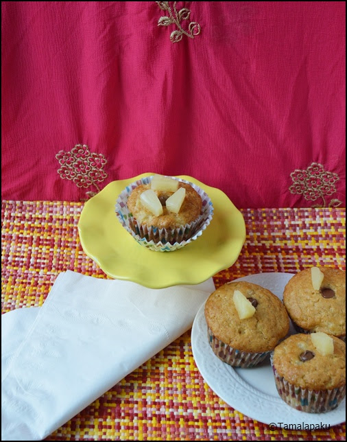 Eggless Pineapple Cupcake