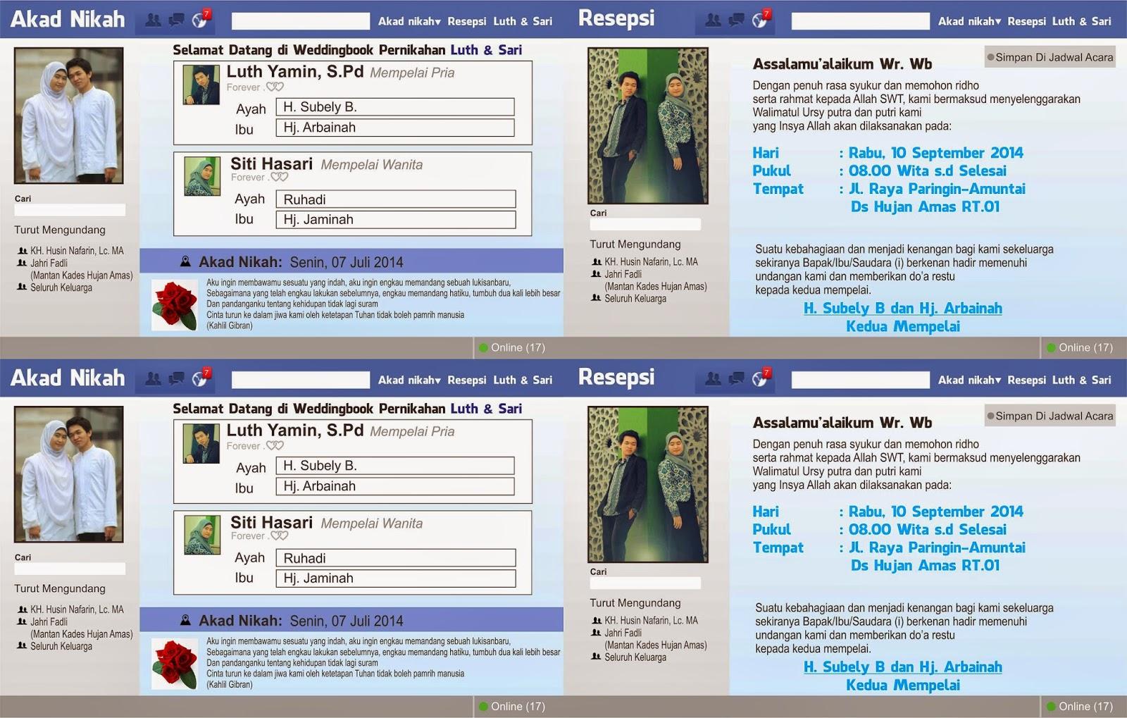Undangan Pernikahan Desain Facebook CDR File Free