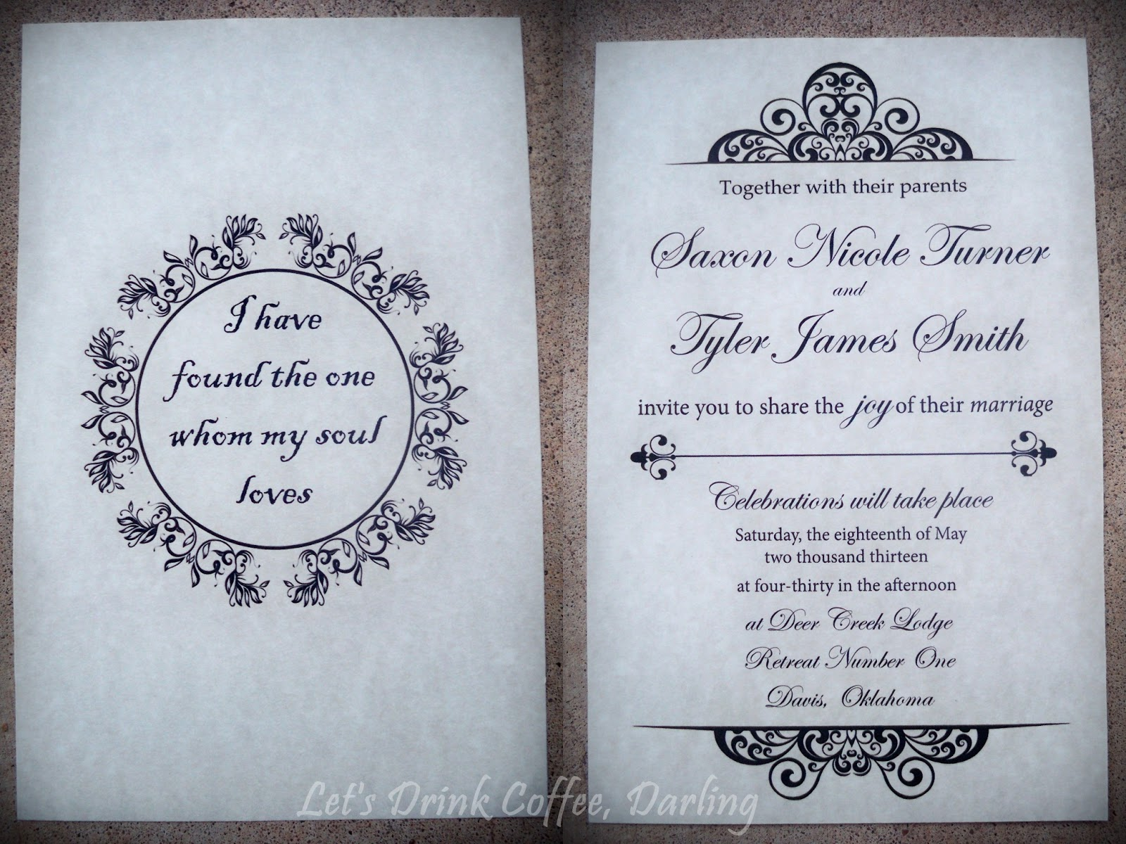 What Goes On A Wedding Invitation: Let's Drink Coffee, Darling: Our Wedding Stationery