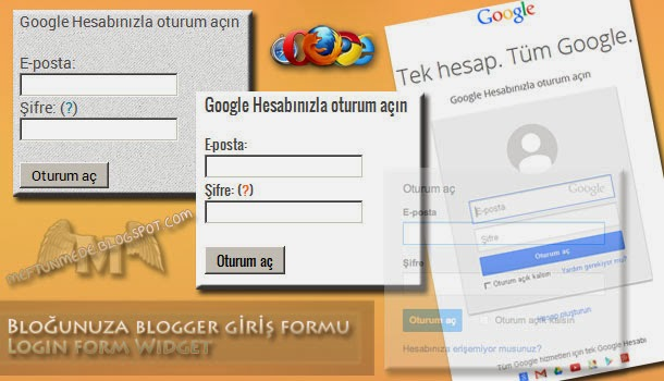 Blogger giriş formu-Login form Widget