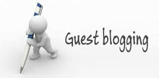 Guest blogging with picture of a white 3 dimensional stick figure holding writing with a giant pen