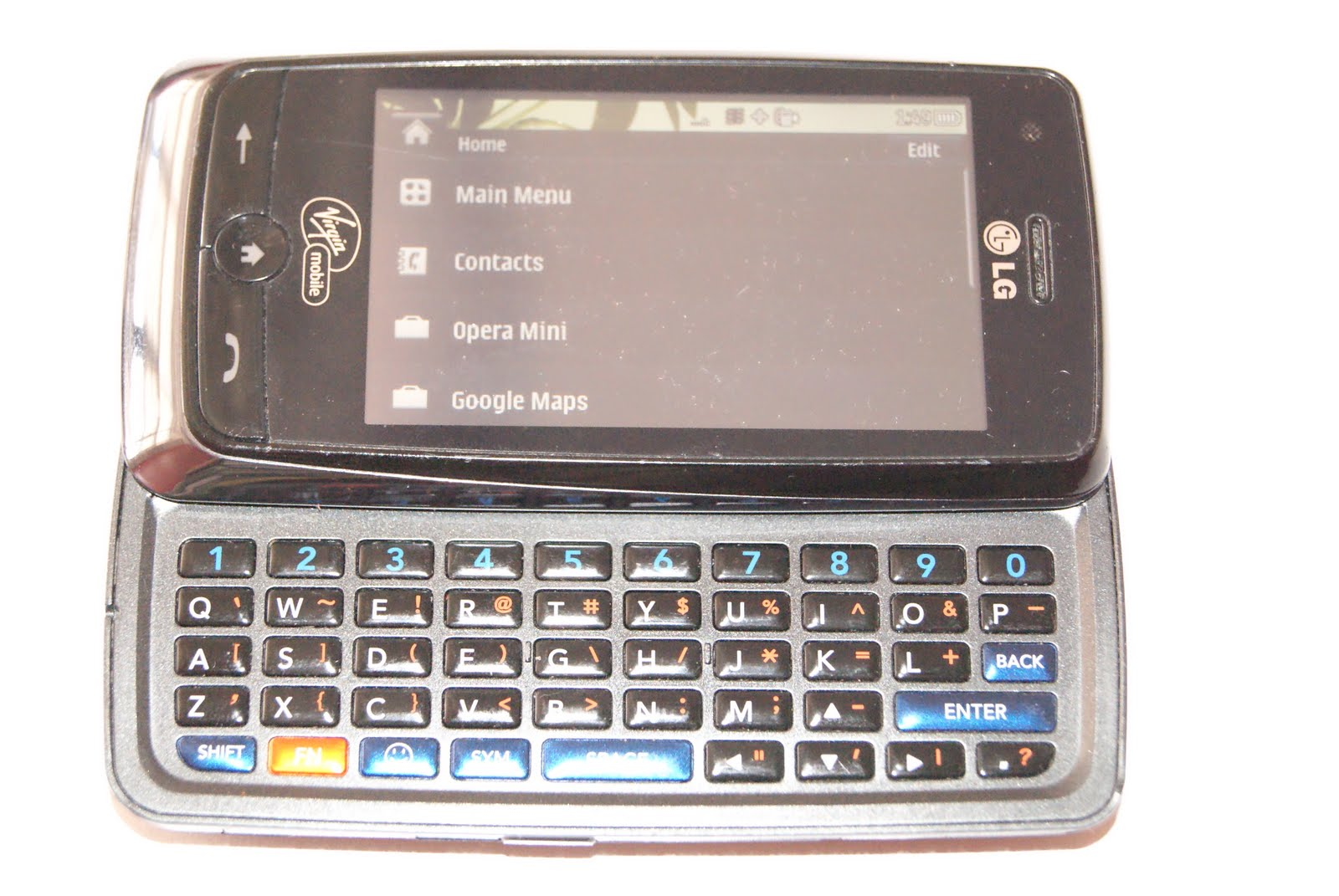 As you can see, it slides to a nice keypad which allows me to text and type  much faster. You can use it in it's closed position by touching the screen.