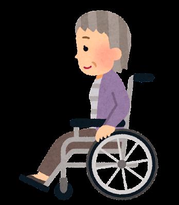横から見た車椅子に乗る人のイラスト(おばあさん)