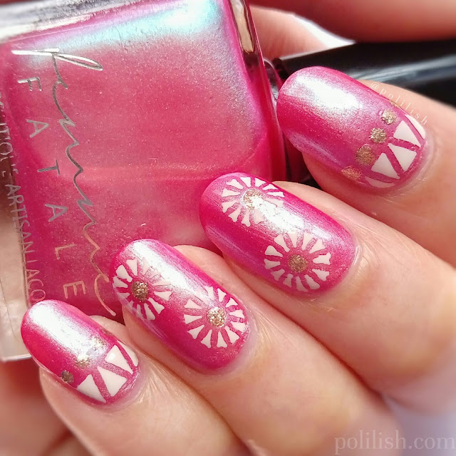 Floral and geometric pink nails using stencils by Born Pretty Store