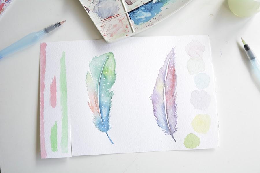 plumas de acuarela