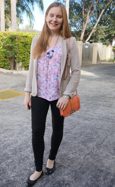 cream blazer, leaf print tank, Nobody Denim skinny jeans with Rebecca Minkoff pale coral small love bag | awayfromblue