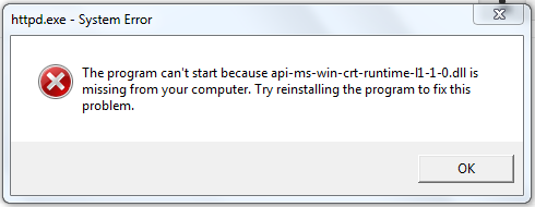 he Program Can't Start Because Api-Ms-Win-Crt-Runtime