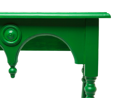 green table, colorful table, diy painted table, emerald green furniture