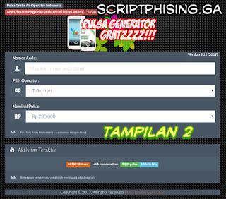 Tampilan 2 Demo Script Phising fb Tampilan Pulsa Gratis