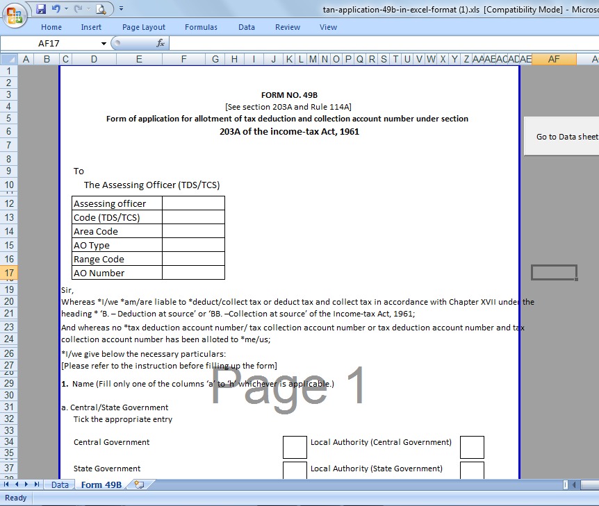 Taxblog India: TAN Application Form 49B In Excel With Auto