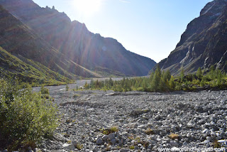 Wide riverbed Pré de Madame Carle at the start of the Glacier Blanc hike in the Ecrins National Park in the Alps of France