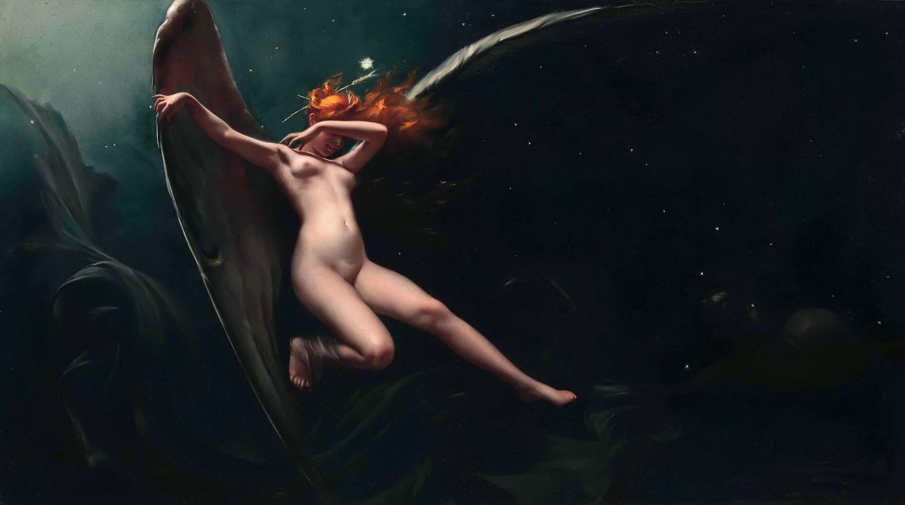 Mujer pelirroja desnuda y con alas, cuadro astrológico