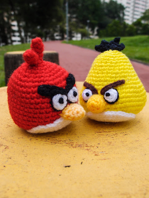 crocheted yellow and red angry bird amigurumi