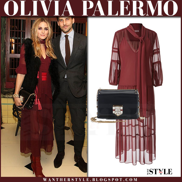 Olivia Palermo in burgundy maxi peasant dress and black fur vest haute hippie at Chelsea28 event what she wore party outfit