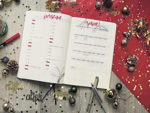 bullet journal monthly spread idea blogmas glitterisblack