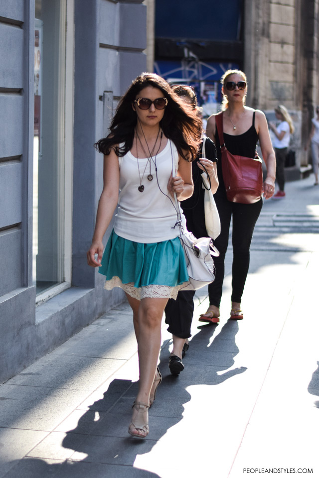 Mini skirt and top street style in Zagreb, summer fashion, June 2015. What to wear to work in summer