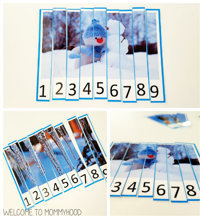 Winter activities: free winter number puzzle printables by Welcome to Mommyhood #preschoolactivities, #montessoriactivities, #montessori, #homeschool, #winteractivities
