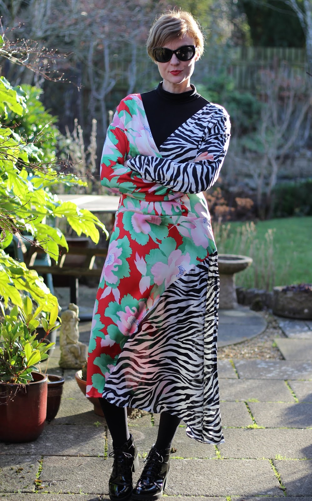 Mixed Floral and Zebra print Satin Dress | Fake Fabulous