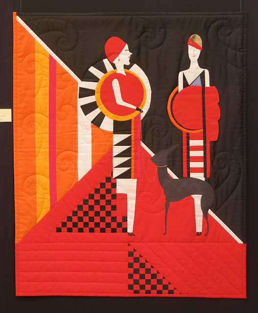 Art Deco style quilt by Danielle Hugonnet, inspired by Ciprian Vrabie work