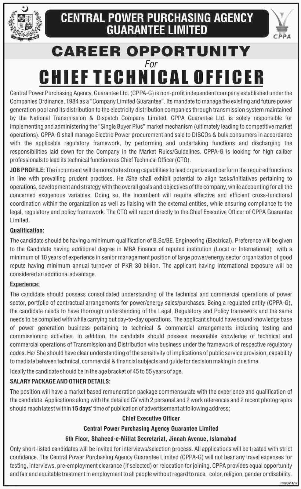 Jobs In Central Power Purchasing Agency Guarantee Limited  Islamabad 2 Aug 2017