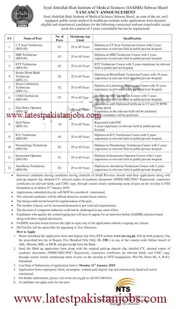 Institute Sehwan Sharif Jobs 2019 for 50+ Data Entry Operators, Staff Nurses, and Medical Technicians