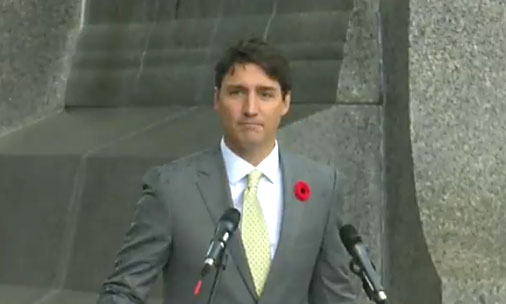 "Trudeau threw some non-too-subtle shade Trump's way as he spoke at Vimy Ridge, dropping his umbrella as the rain came down saying, ""As we sit here in the rain, thinking how uncomfortable we must be these minutes as our suits get wet and our hair gets wet and our shoes get wet, I think it's all the more fitting that we remember on that day, in Dieppe, the rain wasn't rain, it was bullets."""