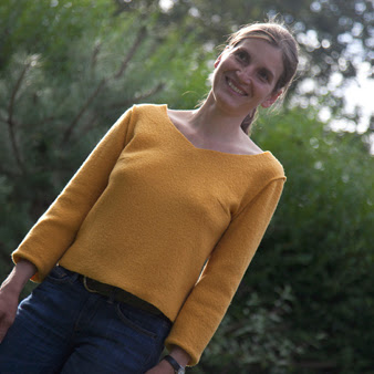 Lovely sweater made with boiled wool from Dragonfly fabrics