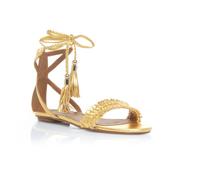Aquazzura Gold Flat Lace-up Open Strap Sandals