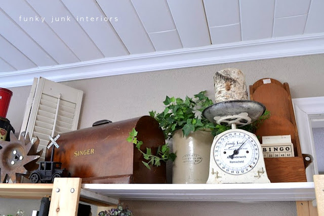 Funky Junk's storage on Ikea Gorm shelving units via https://www.funkyjunkinteriors.net/