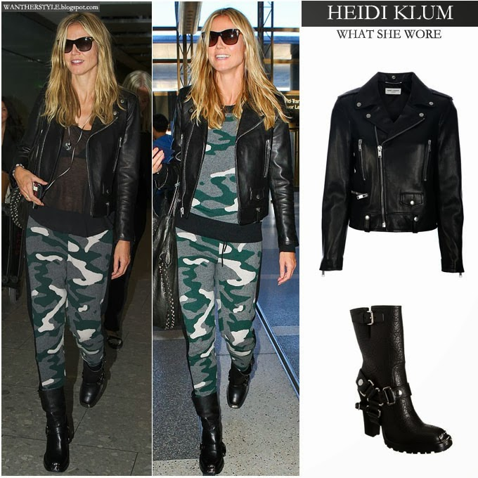 9f95518f63ef5 Heidi Klum in camouflage sweatpants with black leather biker jacket and  black leather boots at airport