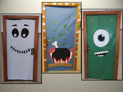 Los peques de vicalvaro decoraci n de puertas de halloween for Puertas decoradas halloween calabaza