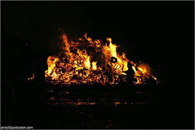 Bomberos en la Old Newbury Bonfire 2018