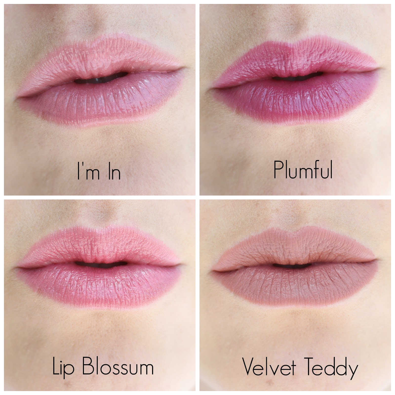MAC Lipstick Swatches: I'm In  Plumful  Lip Blossum  Velvet Teddy