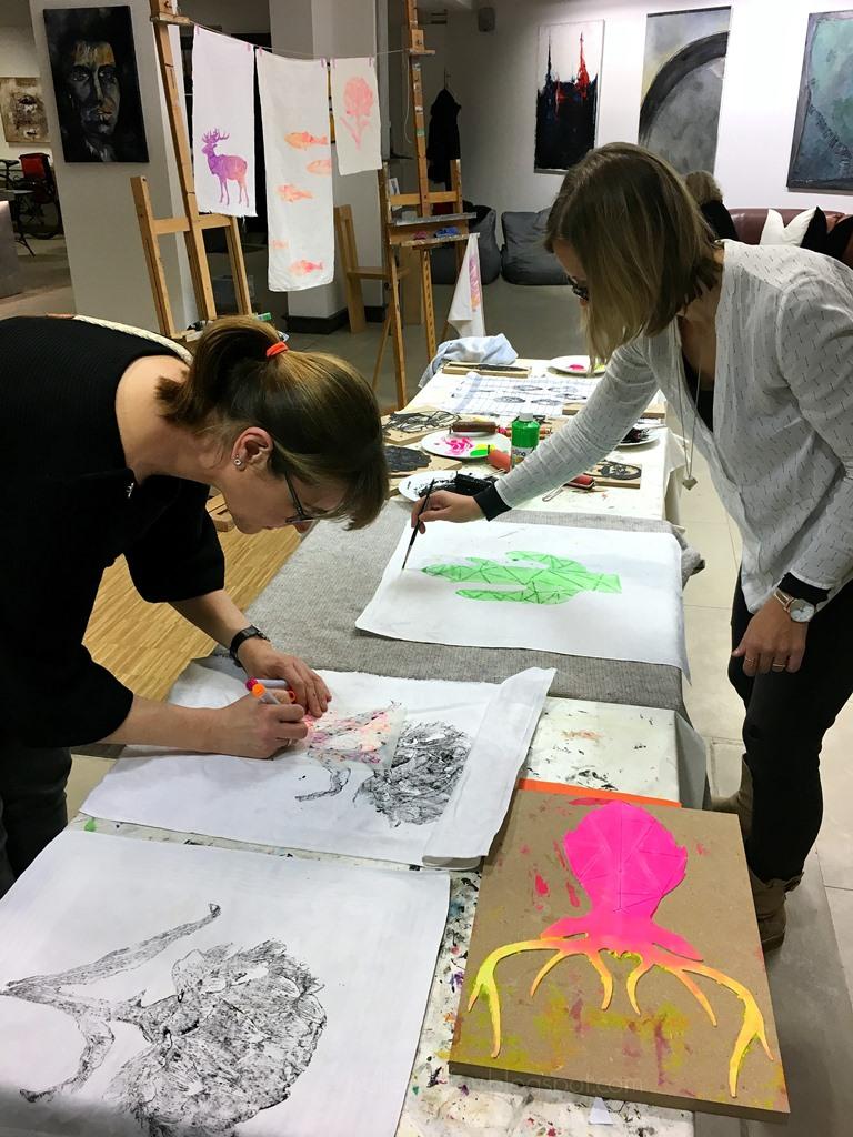 DIY Stempel Workshop Katrin Klink Claudia Wada, Malschule Atelier Claudia Kremer, PASSAGEN 2017 2018 Köln, Interior Design Week Köln