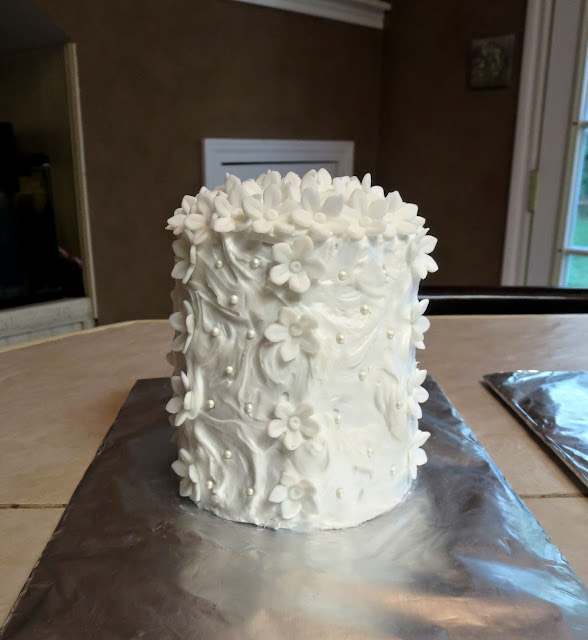 White Cake with White Flowers and Mini Pearls #1