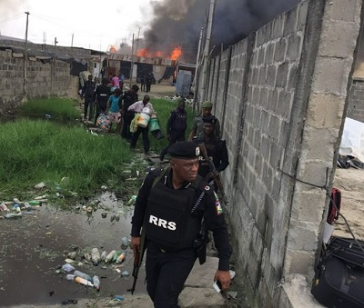 See Photos From The Pathetic Scene Of Yoruba And Egun Youth Clash In Lagos, Over 200 Houses Burnt To Ashes