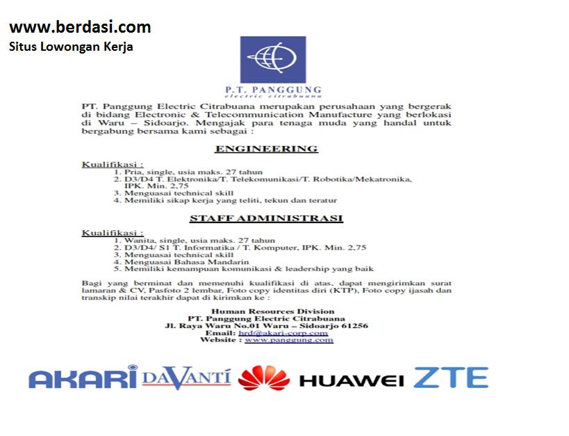Lowongan PT. Panggung Electric Citrabuana Sidoarjo
