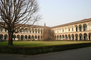 The cloister at the main building of the University of Milan, founded in 1924 after the merger of other institutions