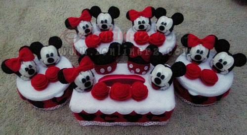 Jual Kotak / Sarung / Tempat Tisu, Toples Kue Flanel Set Karakter Kartun Mickey Minnie Mouse