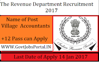 Revenue Department Recruitment 2017 For 100+ Clerk Posts