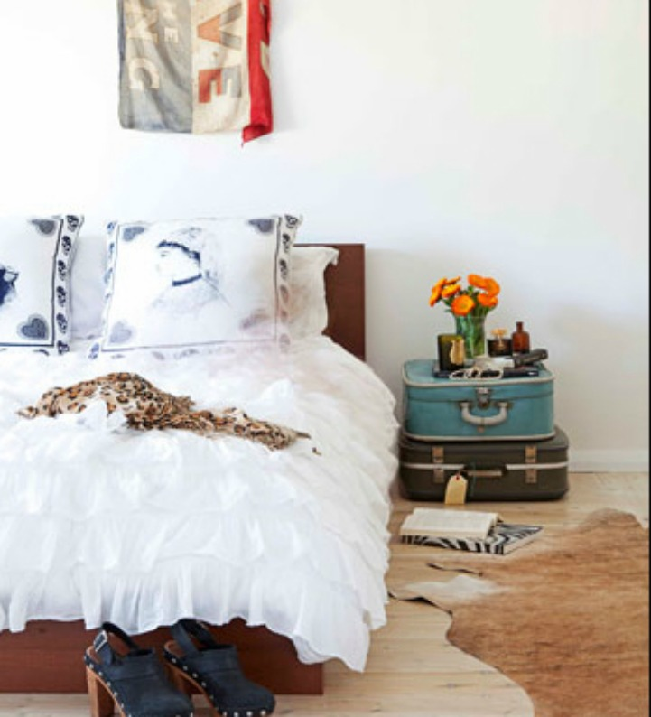 Coastal eclectic beach house bedroom
