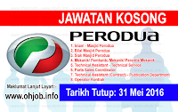 Jawatan Kerja Kosong Perusahaan Otomobil Kedua Berhad (PERODUA) logo www.ohjob.info mei 2016