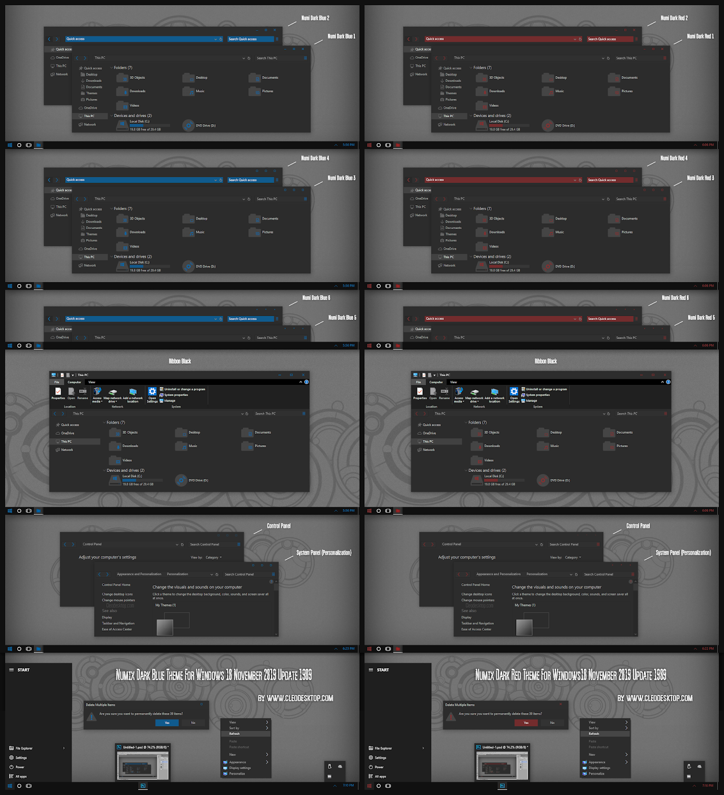 Numix Dark Blue and Red Theme For Windows10 November 2019 Update 1909